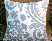 SALE- Premier Prints Storm Grey Suzani Pillow Cover- 16x16 inches- Hidden Zipper Closure