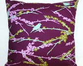 SCHOOL SALE- Lilac Aviary Sparrows by Joel Dewberry- 16x16 inches- Hidden Zipper Closure