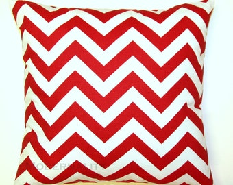 Premier Prints Lipstick Red Chevron Pillow Cover- 16x16 inches- Hidden Zipper Closure