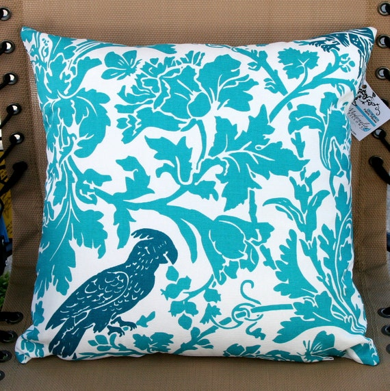 Premier Prints True Turquoise Bird Pillow Cover- 16x16 inches- Hidden Zipper Closure (Discontinued- Last one)
