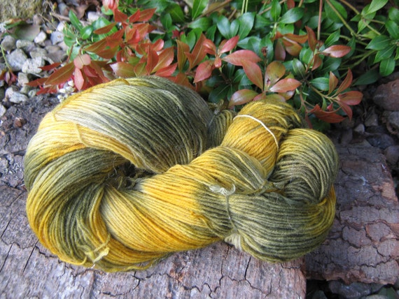 """hand painted fingering weight yarn """"forest floor """""""