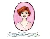 """GREETING CARD Molly Ringwald, """"The Breakfast Club"""" Print 4 1/4"""" x 5 1/2"""""""
