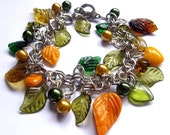 Autumn leaves II - glass beads and charms, acrilyc beads