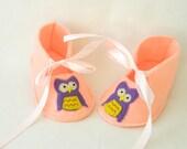 Owl felt baby booties