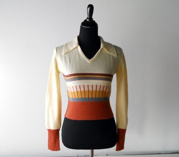 1970s Sweater // Cream and Earth Tones.