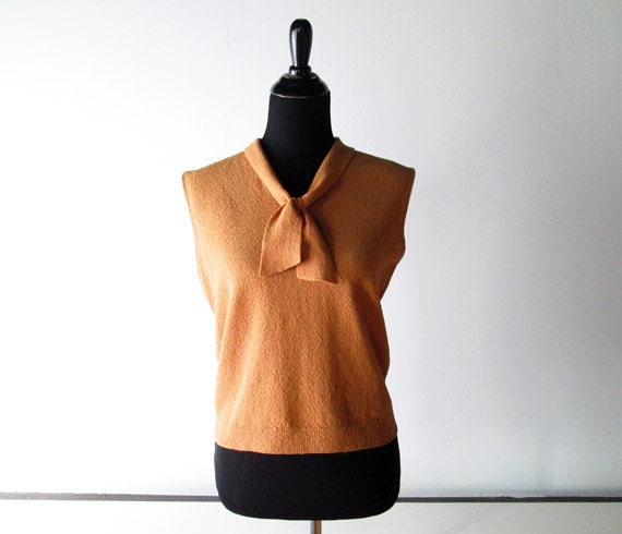 1960s Blouse // Caramel Brown 1960s Tank Top with Bow.