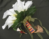 Custom Tribal Bride Bokay Tassle Handle African American Traditional White Calla Lily Wedding Bridal Bouquet Jumping Broom Satin Ribbon