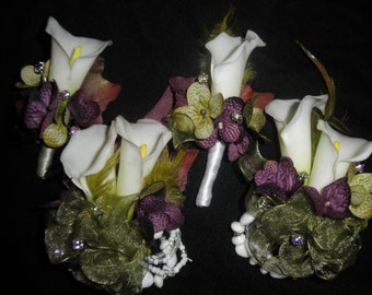 2 Calla Wedding Corsages &  2 matching Boutonnieres. With color rhinestones. Real Touch Cala Lily Bride Silk Flower Set purple green white