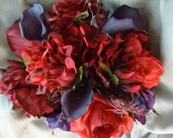 Red Roses and Purple Cala Lily Brides Bouquet Samples. Plum REAL TOUCH Calla Corsage Boutonniere