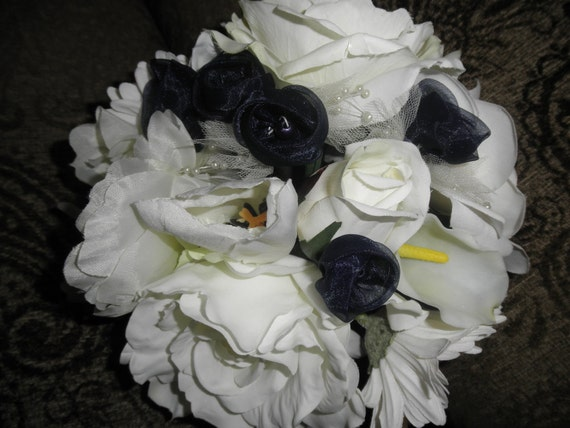 Gardenia and Rose Bride's Bouquet. Destination Wedding Flowers. White and navy with Rhinestone and pearl accents