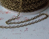 10Ft Antique Bronze Brass  Chain, Oval Soldered Links, 2.5x3x1mm