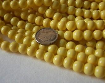 """One 15"""" Full Strand,  Soft Yellow 8mm Glass Round Beads"""