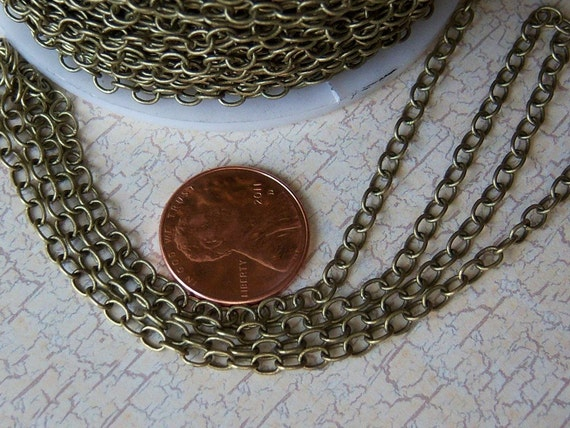 10ft  Antique Brass Chain, Soldered Oval Links 3.5x3x1mm, Solid Brass