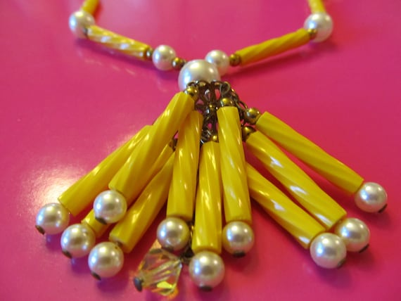 Vintage Crystal Faux Pearl  and  Yellow Bead Tassel Necklace