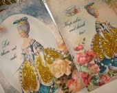 Marie Antoinette Gift Tags Gold Glittered Ribbon  French Paris Shabby Chic (set of 8)  -Ooh La La