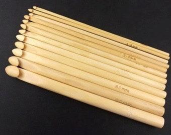 12 Sizes Crochet Hooks Bamboo 6'