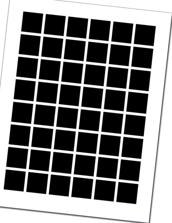 Blank digital collage template 1 inch squares 6 x 8