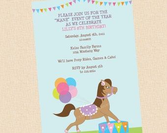 Pony Rides . Birthday Party Invitation . Any Colors