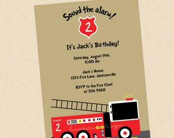 Fire Truck Engine . Invitation