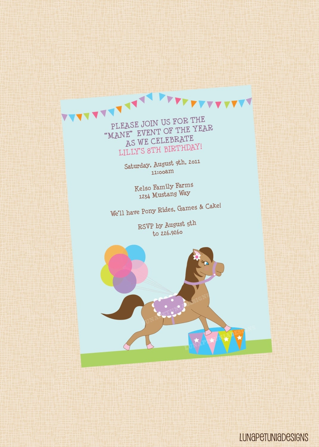 pony rides . birthday party invitation . any by lunapetuniadesigns, Party invitations