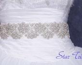 Sarah wedding bridal rhinestone beaded sash ,belt