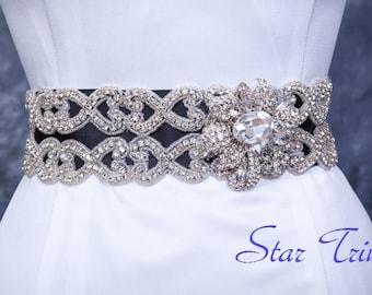 SALE SERENA weddingrhinestone seed bead bridal sash belt