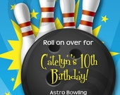 BOWLING INVITATION - Printable - Birthday Party - Customizable - Banners, Cupcake Toppers & more also available