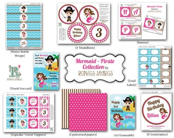 Printable MERMAID and PIRATE Birthday Party - CUSTOMIZED - Coordinating Design Accessories Collection