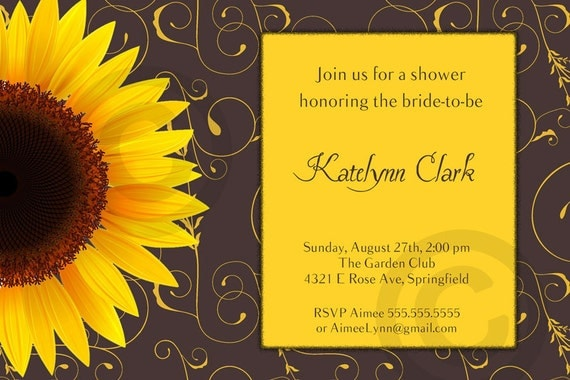sunflower bridal or baby shower or birthday invitation, Baby shower invitations