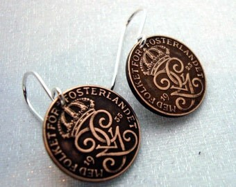 Coin Jewelry - Swedish COIN EARRINGS, Viking, Celtic, Three Crowns, small coin earrings, Sweden coin jewelry - Copper coin earrings