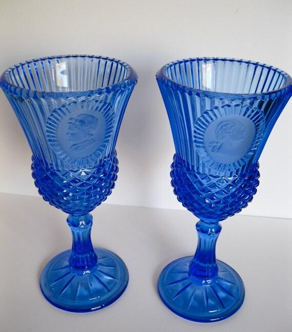 Vintage Presidential Wine Glasses Cobalt Blue George