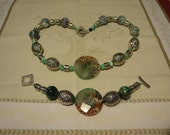 Magical Agate Stone of Earthtones, Rust, Emerald, White and Pewter Wildflower Beads