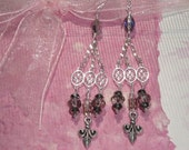Chandelier Smoke, Clear, and Metallic Black Crystals Earrings with Fleur de Lys