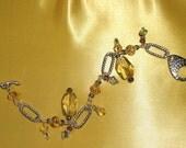 Sunny Lemon Quartz Nuggets, Green Fluorite and Crystals Charm Bracelet