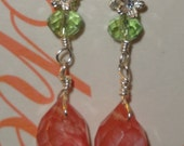 Citrus Colors in Crystals, Sterling Silver Flowers, Strawberry Quartz and Pearl Earrings