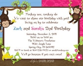 Monkey Birthday Invitation for Twins in Pink and Blue  Customizable Printable