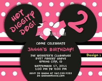 Minnie Mouse Invitations, Minnie Mouse Ears Invitation, Minnie Birthday Invite, Pink Small Polka Dot and Stripe Customizable Printable