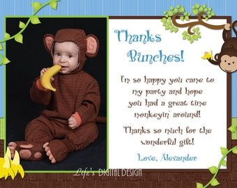 Monkey Thank You Card in Blue Photo Option - Customizable Printable