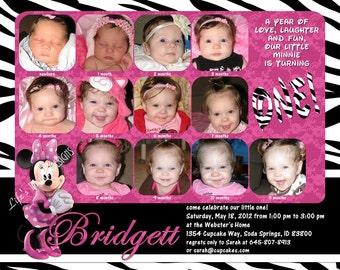 "Minnie Mouse First Birthday Invitations 12 Photos Pink Zebra Customizable Printable 6x7.5"" Costco Size"