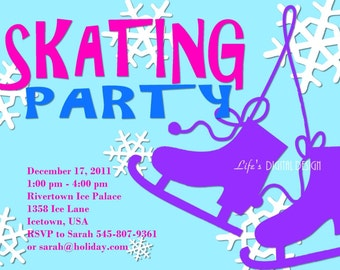 Ice Skating Party Invitation Customizable Printable 4x6 or 5x7 Size