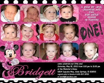 Minnie Mouse First Birthday Invitations 12 Photos Pink Polka Dots  Customizable Printable 5x7 or 4x6