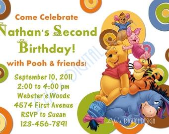 Winnie the Pooh Birthday Invitation Green Dots Customizable Printable