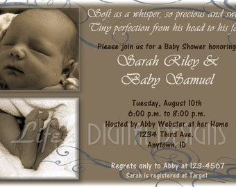 Photo Baby Shower Invitation or Announcement Brown Blue Customizable Printable