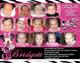 Minnie Mouse First Birthday Invitations 12 Photos Pink Zebra Customizable Printable 5x7 or 4x6