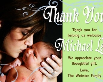 Baby Shower Thank You Card Photo and Background Options - Customizable Printable