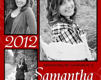 """Graduation Announcements Multiple Photo and Background Options Customizable Printable 6x7.5"""" Costco Size"""