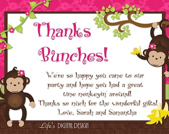 Monkey Thank You Card for Twins in Pink Photo Option - Customizable Printable