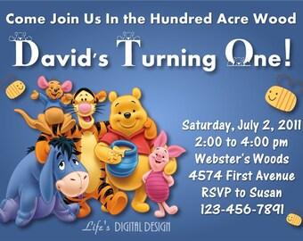 Winnie the Pooh Invitation Birthday Blue Customizable Printable