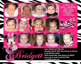 """Minnie Mouse First Birthday Invitations 12 Photos Hot Pink Zebra Customizable Printable 6x7.5"""" Costco Size"""