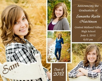 Graduation Announcements Multiple Photo and Background Options Customizable Printable 5x7 or 4x6